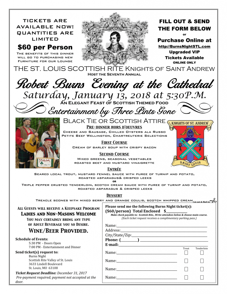 Your Invitation To Burns Celebration on January 13 2018 St Louis